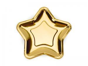 Guldiga stjärn papperstallrikar