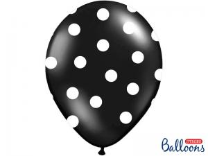 Latexballonger Svart Prickig 30cm
