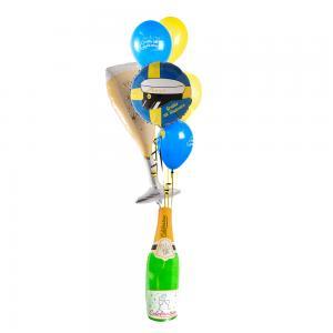 Studentbukett champagneglas fab