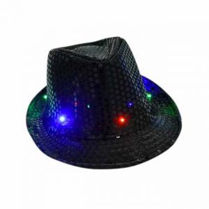 Paljetthatt LED lampa svart