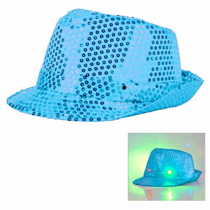 Paljetthatt LED lampa ljusblå