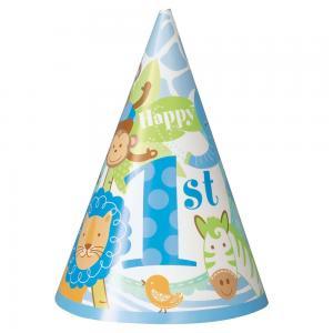 Blå safari 1st birthday hattar
