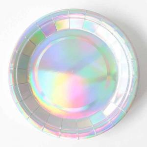 Papperstallrik iridescent silver