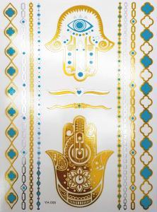 metallisk Tatuering indie guld och turkos händer