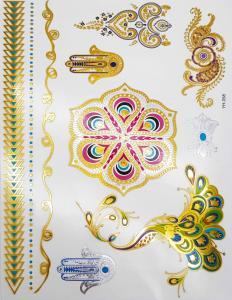 metallisk Tatuering indie färgglad psychadelic indian