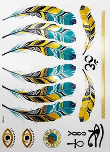 metallisk Tatuering indie feathers and ohm
