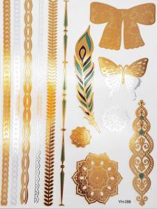 metallisk Tatuering indie färgglad rosette, feather and butterfly