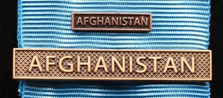 Bandspänne - AFGHANISTAN - till stor medalj+miniatyrmedalj