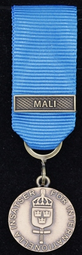 Försvarsmaktens medalj för internationella insatser i brons med bandspänne -MALI-