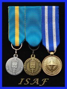 Monterade miniatyrmedaljer FMVPLsm, FMintBM, NATO ISAF