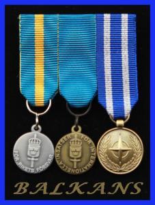 Monterade miniatyrmedaljer FMVPLsm, FMintBM, NATO BALKANS
