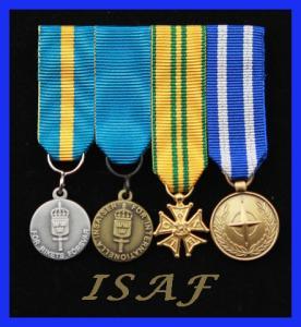 Monterade miniatyrmedaljer FMVPLsm, FMintBM, Nijmegen, NATO ISAF