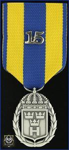 Hemvärnets tjänstgöringsmedalj i silver med parmonterad siffra för 15 tjänsteår