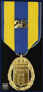 Hemvärnets tjänstgöringsmedalj i guld med parmonterad siffra för 25 tjänsteår