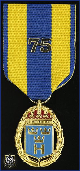 Hemvärnets tjänstgöringsmedalj i guld och emalj med parmonterad siffra för 75 tjänsteår