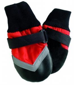 FPC  Allväders skor 4 st., SM, röd/svart, 8,25 cm, t.ex. Beagle, Westhighland Terrier