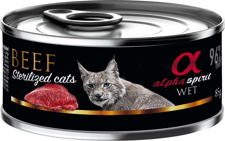 Alpha Spirit dåse, Oksekød til katte sterilized 85 g