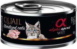 Alpha Spirit dåse, Vagtel til katte sterilized 85 g