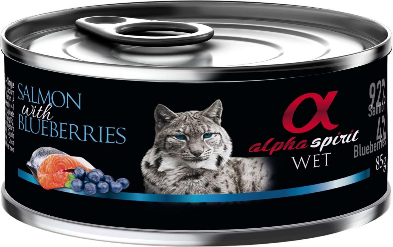 Alpha Spirit dåse, Laks med blåbær 85 g