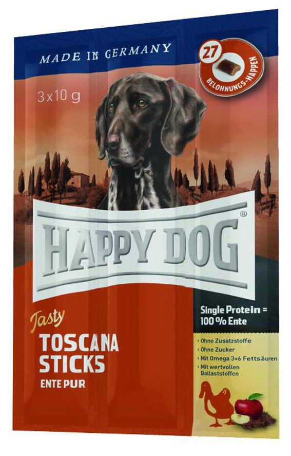 HappyDog Tasty Toscana Sticks, anka 3x10 g