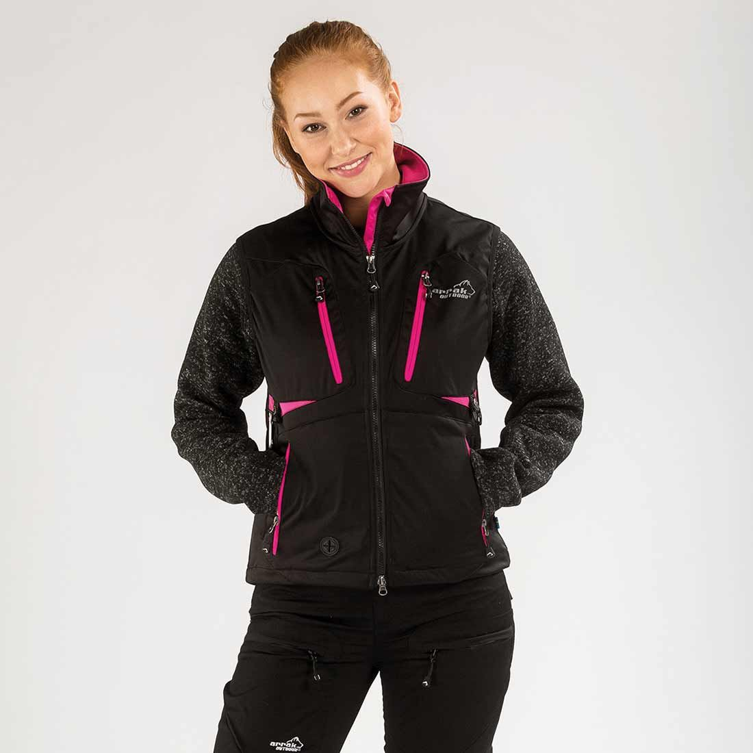 Arrak Acadia Softshell vest  LADY Black/pink 34