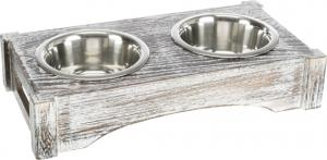 Matbar, rostfri/trä,2 × 0,2 l/ø10 cm, 30 × 5 × 16 cm, vit
