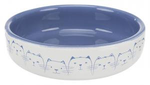 Kattskål för kortnosiga, keramik,0.3 l/ø 15 cm, lj.blå/vit