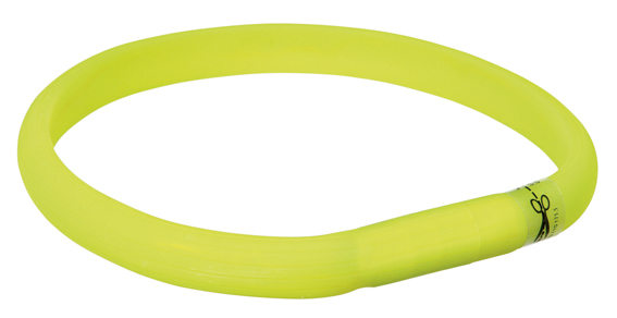 Flash light band USB, XS-S: 35 cm/17 mm, limegrön