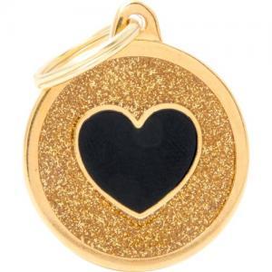 shine, cirkel stor med svart hjärta, guld