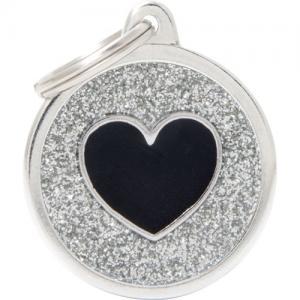 shine, cirkel stor med svart hjärta, grå
