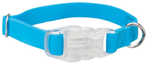 Easy Flash halsband med Flasher, S-M: 30-45 cm/20 mm, neon blå