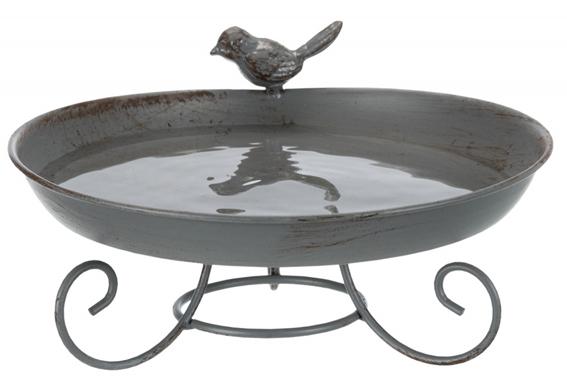 Fågelbad stående, metall, 800 ml/ø 22 cm, grå