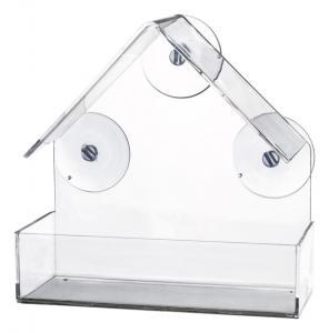 Vildfågelmatare för fönster 225 ml, 15×15×6 cm, transparant