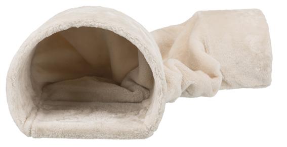Plyschtunnel for kanin/marsvin,27 × 21 × 80 cm, beige