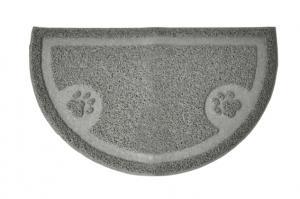 Kattlådematta WipeOff, Easy Care, PVC, grå 60x36cm, halvmåne