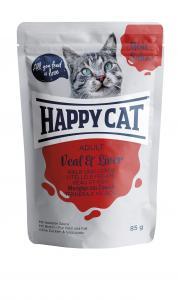 HappyCat våt/sås, Adult, kalv & lever 85g