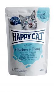 HappyCat våt/sås, Adult, kyckling & öring 85g