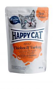 HappyCat våt/sås, Adult, kyckling & kalkon 85g