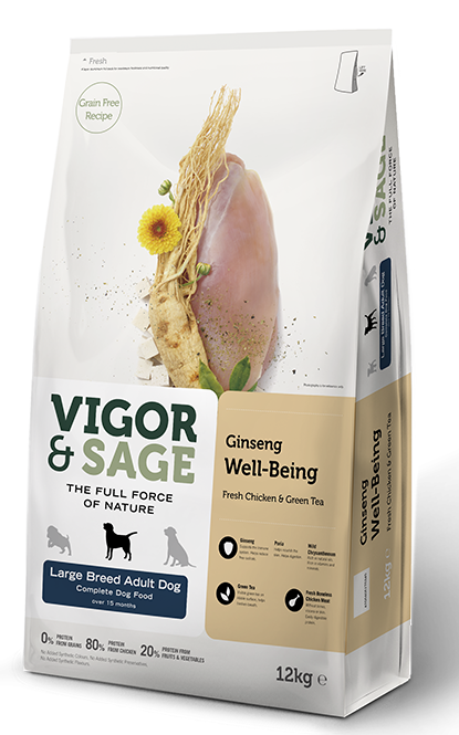 VIGOR & SAGE Ginseng Well-Being Large Breed Adult Dog 12KG