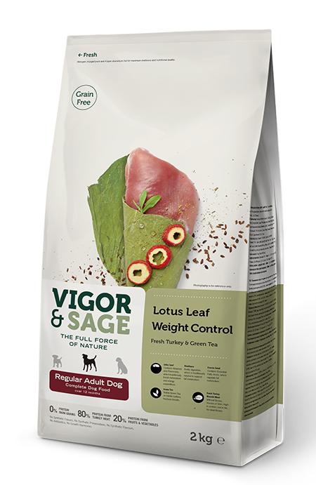 VIGOR & SAGE Lotus Leaf Weight Control Regular Adult Dog Food 2KG