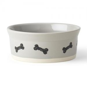"Classy Bones 5"" Bowl, Light Gray/Natural"