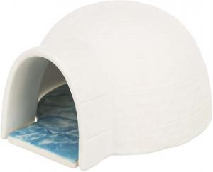 Igloo med kylplatta, möss/hamster, keramik, 13 × 9 × 15 cm, vit