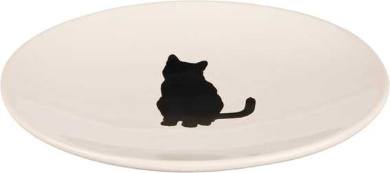 Keramikskål katt, 18 × 15 cm, vit
