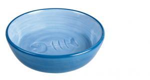 Keramikskål katt fiskben Bl frg 0,2 L 13 cm