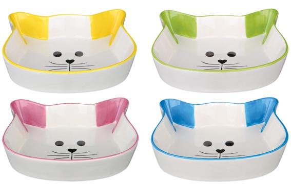 Keramikskål katt, 0.25 l/12 cm, Bl färger