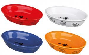 Keramikskål katt, oval, 0.2 l/15-10 cm bl. färger