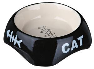 Keramikskål, katt, 0.2 l, 13 cm, bl färger