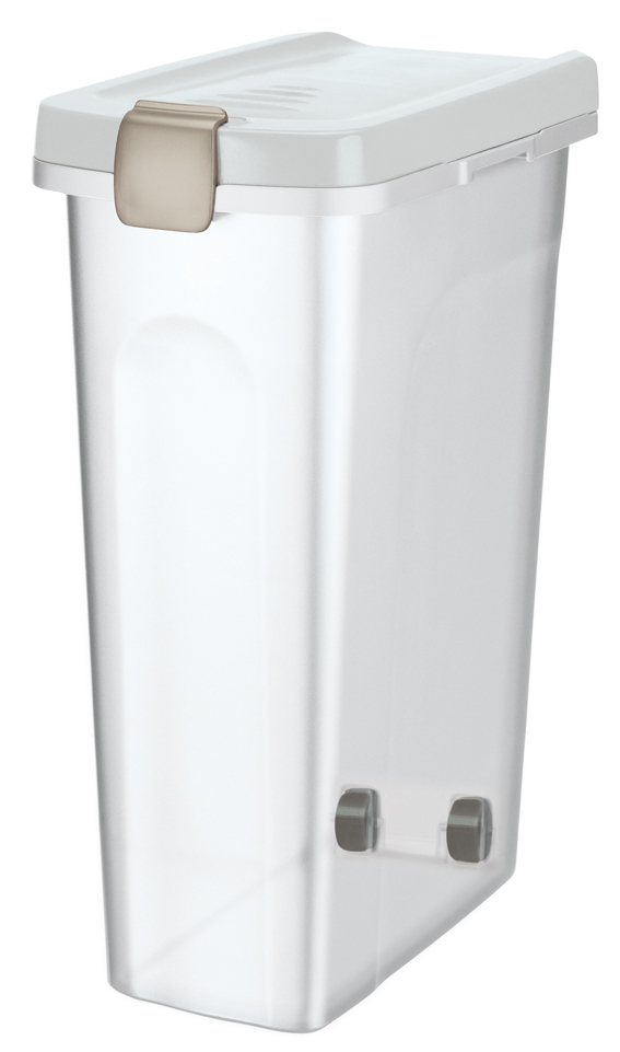 Fodertunna, 25 l/, 24 × 51 × 39 cm, transparant/vit