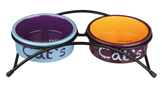 Matbar m Keramikskålar Katt Lj.blå/Orange/Lila 2x0,3 Lx 12 cm