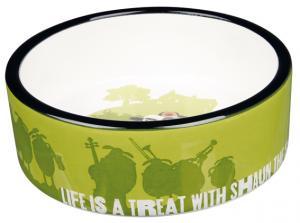 Fåret Shaun, keramikskål Shaun & Bitzer, 0.3 L/ø 12 cm, grön